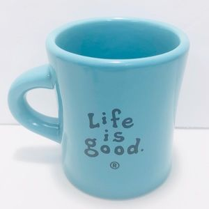 LIFE IS GOOD Turquoise Blue Diner Style Coffee Mug